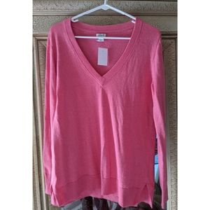 NEW JCrew Factory Salmon Pink V-neck Sweater SM